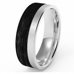 Titaani/hiilikuitu-sormus 6mm leveä
