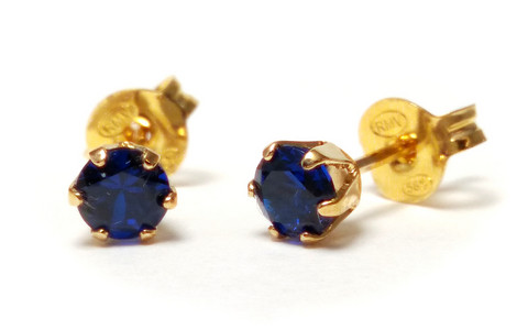 Tappikorvakorut sininen 4mm, kultaa 22201
