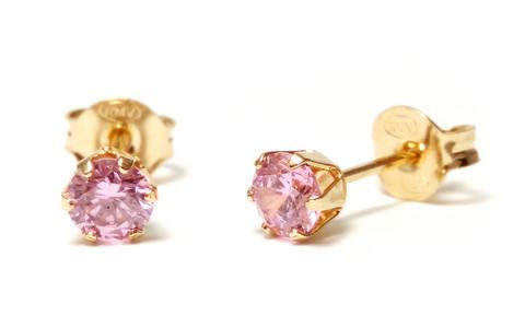 Tappikorvakorut pinkki 4mm, kultaa 22203