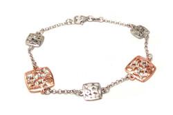 Rose-kullattu neliö-ranneketju, hopeaa 14212