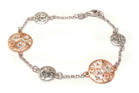 Rose-kullattu ympyrä-ranneketju, hopeaa 14211