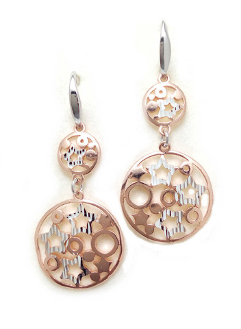 Rose-kullattu ympyrä-korvakorut avokoukulla, hopeaa 12083