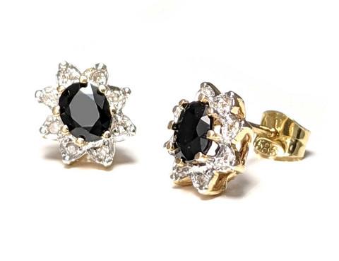 Diana-korvakorut sinisafiirilla ja timanteilla, keltakultaa 22300