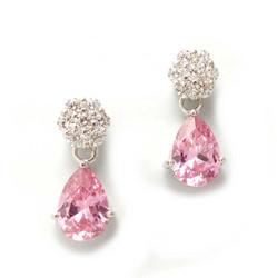 Tappikorvakorut roikkuvalla pinkillä kivellä, hopeaa 12100