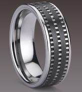 Titaani/tungsten/keraamikka-sormus 8mm leveä