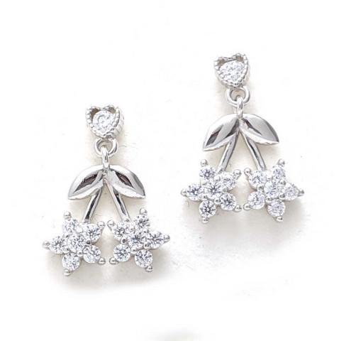 kukka-tappikorvakorut, hopeaa