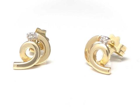 kierre-tappikorvakorut timantilla, keltakultaa
