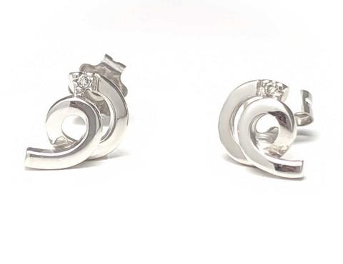 kierre-tappikorvakorut timantilla, valkokultaa