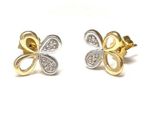 Kukka-tappikorvakorut timanteilla, kultaa