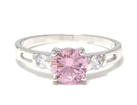 Rivisormus pinkillä kivellä, hopeaa 13017
