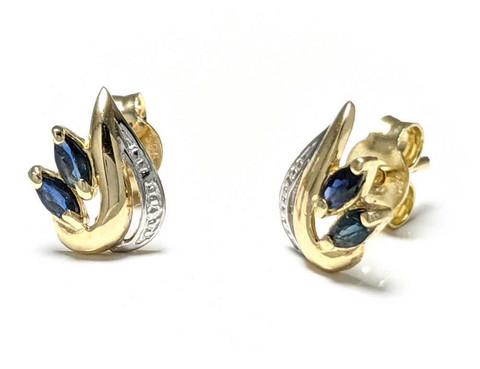 Sinisafiiri-korvakorut, kultaa