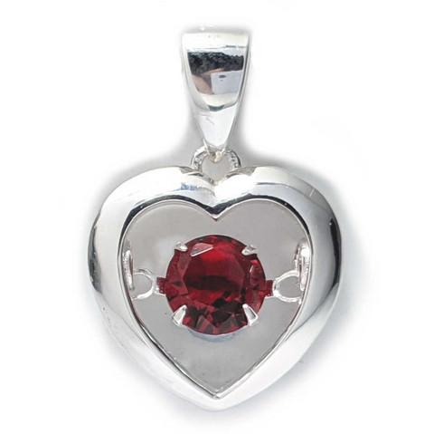 Sydän-riipus punainen zirkonia-kivi, hopeaa
