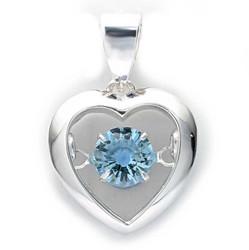 Sydän-riipus vaaleansininen zirkonia-kivi, hopeaa