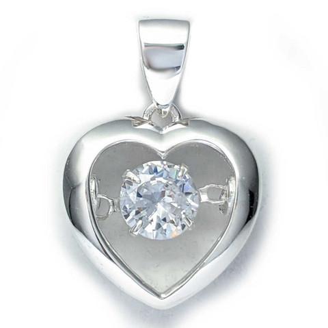 Sydän-riipus kirkas zirkonia-kivi, hopeaa