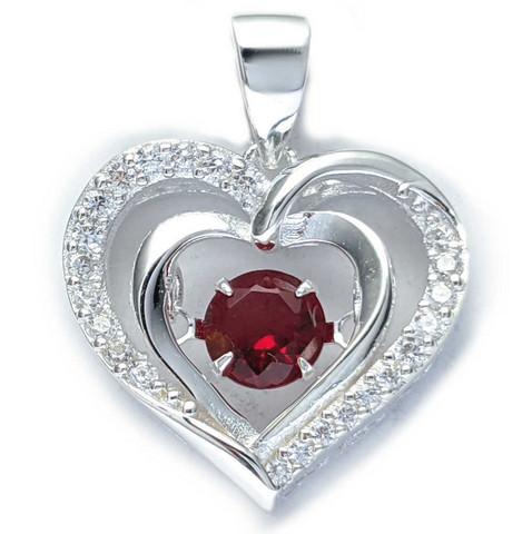 Sydän-riipus zirkonia-kivillä, hopeaa