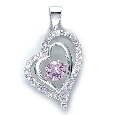 Sydän-riipus pinkeillä zirkonia-kivillä, hopeaa