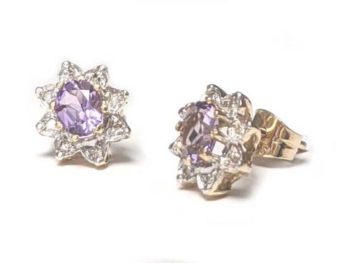 Diana-korvakorut ametistilla ja timanteilla, keltakultaa