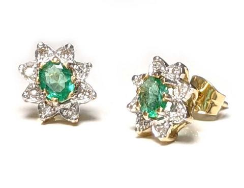 Diana-korvakorut smaragdilla ja timanteilla, keltakultaa