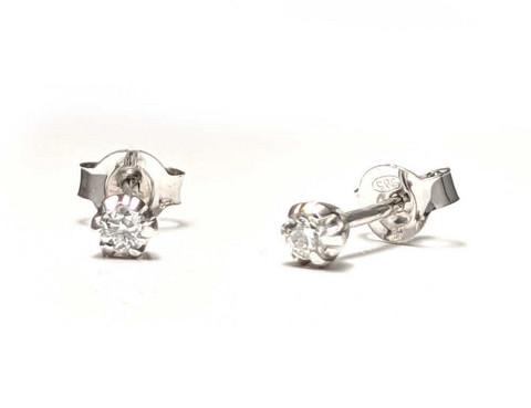Tappikorvakorut timanteilla yht. 0,10ct, valkokultaa