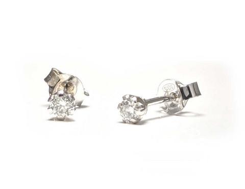 Tappikorvakorut timanteilla yht. 0,14ct, valkokultaa