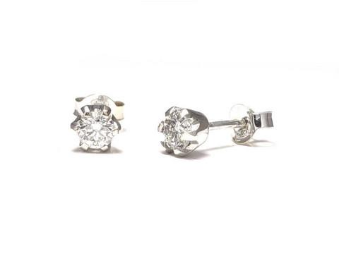 Tappikorvakorut timanteilla yht. 0,40ct, valkokultaa