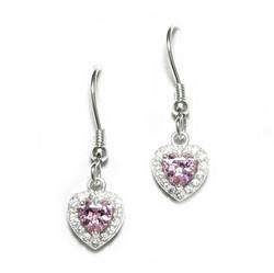 Pinkki sydän-koukkukorvakorut, hopeaa