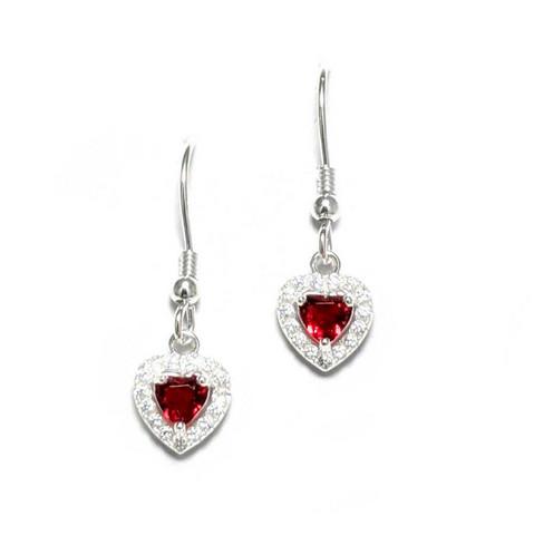 Punainen sydän-koukkukorvakorut, hopeaa