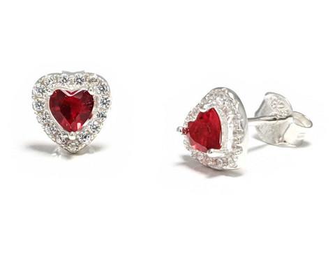 Punainen sydän-tappikorvakorut, hopeaa