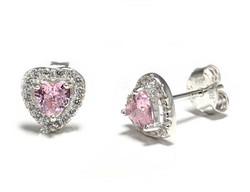 Pinkki sydän-tappikorvakorut, hopeaa