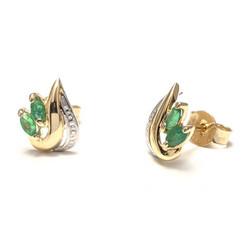 Lehtimäinen smaragdi-korvakoru, keltakultaa