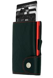 C-Secure turvalompakko aitoa nahkaa, musta punaiset tikkaukset
