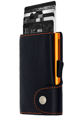 C-Secure turvalompakko aitoa nahkaa, oranssit tikkaukset