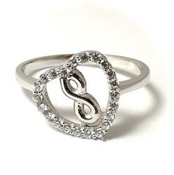 Infinity-sydänsormus, hopeaa 13003
