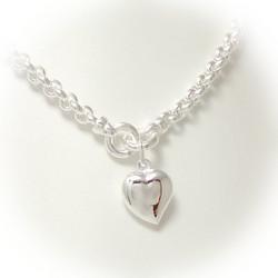 Papuketju sydämellä kaulaan, hopeaa 14809
