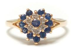 Sydän sinisafiiri-timanttisormus, kultaa 23153