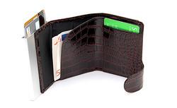 C-Secure turvalompakko aitoa nahkaa krokostyle, ruskea