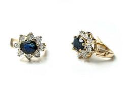 Diana-korvakorut sinisafiirilla ja timanteilla saranamekanismilla, keltakultaa 22300