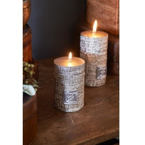 RM Linen Candle dusty silver 7x10