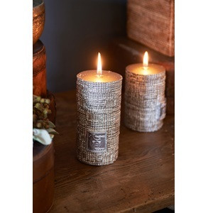 RM Linen Candle dusty silver 7x13