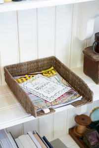 Rustic Rattan Office Tray