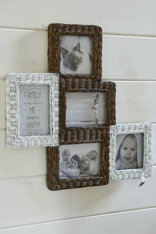 Rustic Rattan Photo Frame Collage