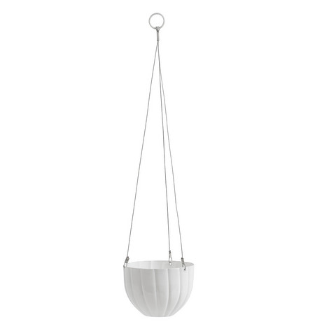 Hanging flower pot White with lines