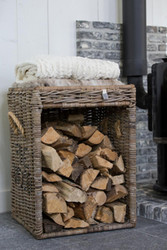 Rustic Rattan Fire Wood Basket