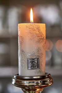 Small Feather Candle white 7x13