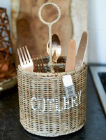 Rustic Rattan Cutlery Basket Round