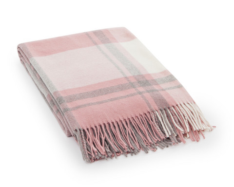 Classic Checked Wool Throw 130x170 Pink-grey
