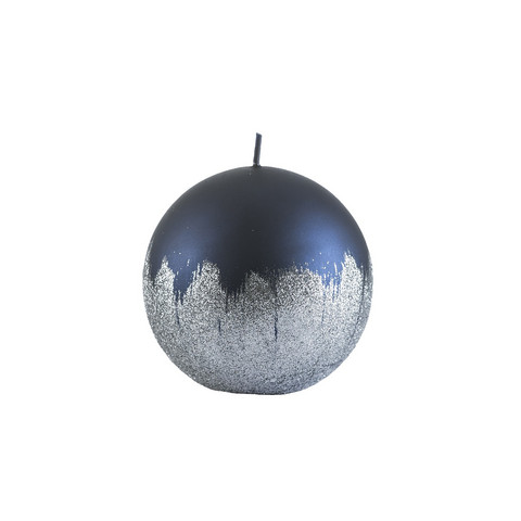 Velvet Ball Candle 10cm Midnight silver weave