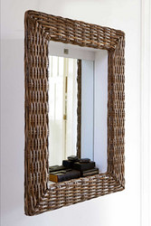 Rustic Rattan Shadow Mirror 62x86