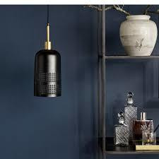 COOL, black pendant w/brass