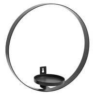 CIRCLE wall candle holder, black
